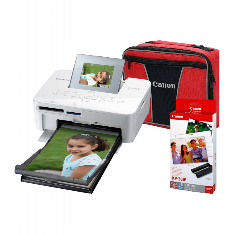 Canon Selphy CP1000 Compact Photo Printer Bundle (Including Carry Bag & Ink  and Paper set)