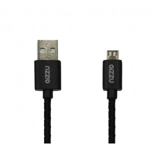 GIZZU MICRO USB BRAIDED CABLE 2M BLACK