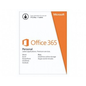 Microsoft Office 365 Personal 32/64Bit English 1 Year Subscription Medialess / Single user license-NEW