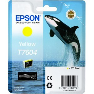 Genuine Yellow Epson T7604 Ink Cartridge For use with Epson SureColor SC-P600 Inkjet Printer