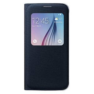 Samsung Fabric S View Black Cover for Galaxy S6 Smart Phone