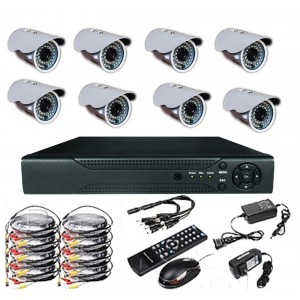 8 Channel Real Time H.264 CCTV Kit Waterproof Cameras