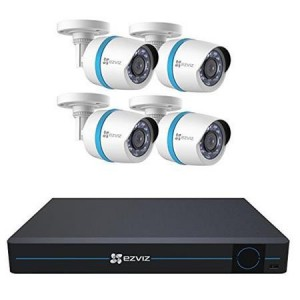Ezviz 8 Channel 1080p HD IP NVR Security System with 2TB Hard Drive, 4x 1080p Weatherproof Bullet Cameras with 30m Night Vision