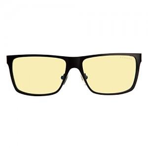 Gunnar Optiks VIN-00101 Vinyl Full Rim Ergonomic Advanced Computer Glasses with Amber Lens Tint, Onyx Frame Finish