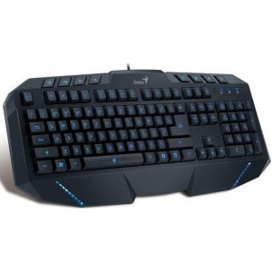 Genius KB265 Gaming Keyboard Blue Backlit Keys (Grey & Black) - GEN-KBG265