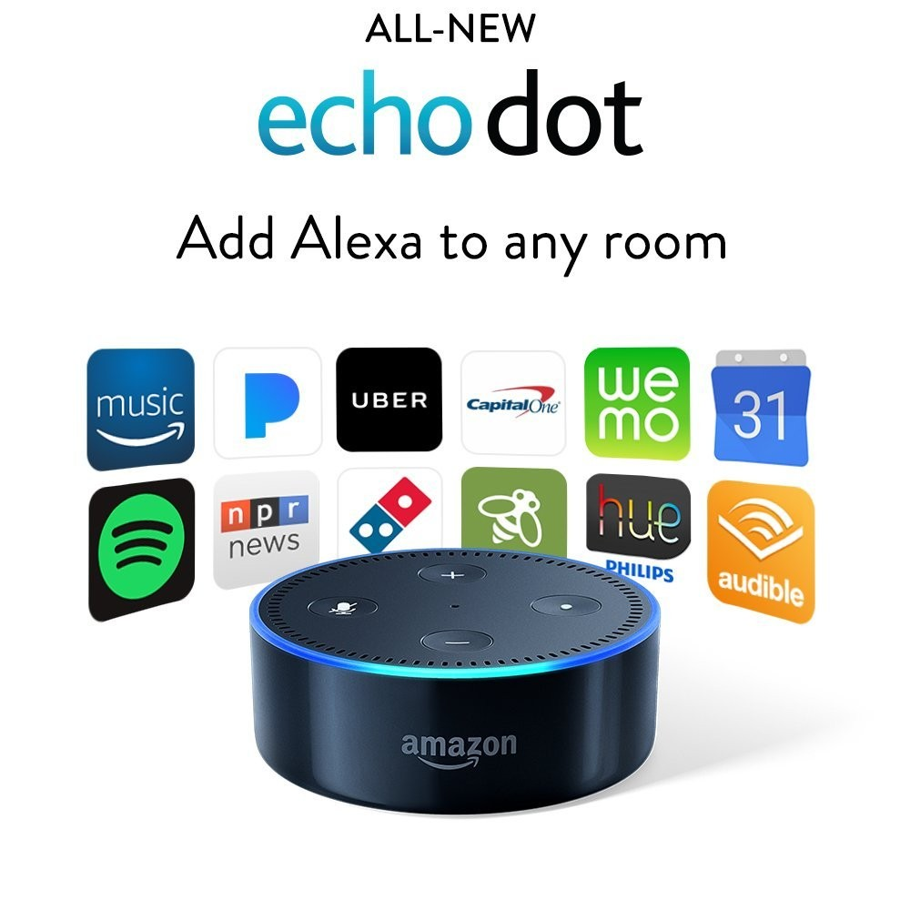Amazon RS03QR Echo Dot Smart Speaker with Alexa  Black 2nd Generation