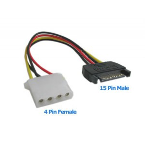 Unbranded MALESATACONNECT Molex female to Male SATA Connector
