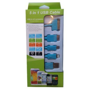 Unbranded KS-2101-BLU USB Mobile Data Cable 5 In 1 Charger And Sync Blue