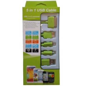 Unbranded KS-2101-LIM USB Mobile Data Cable 5 In 1 Charger And Sync Lime