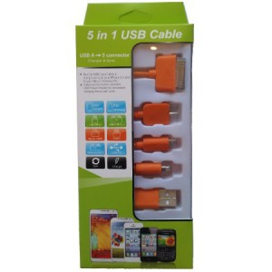 Unbranded KS-2101-ORG USB Mobile Data Cable 5 in 1 Charger And Sync Orange