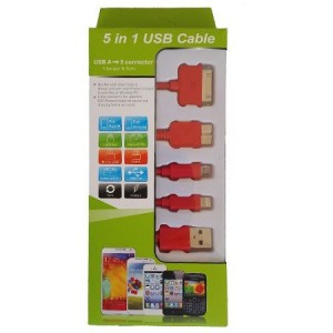 Unbranded KS-2101-RED USB Mobile Data Cable 5 In 1 Charger And Sync Red