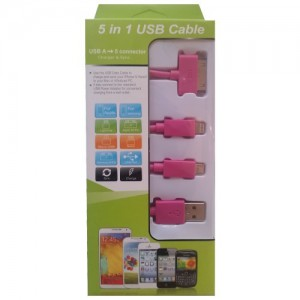 Unbranded KS-2000-PIN USB Mobile Data Cable 4 In 1 Charger And Sync Pink