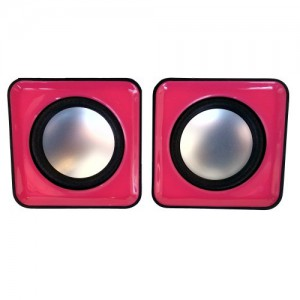 Unbranded MINISPE-P  2.0 Channel USB Mobile Speaker Black and Pink Trim