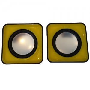 Unbranded MINISPE-Y  2.0 Channel USB Mobile Speaker Black and Yellow Trim