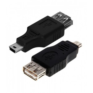 PASSIVE ADAPTER MINI USB - USB M-F BLACK