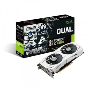 Asus GeForce GTX 1060 DUAL 3GB GDDR5 VR Ready Graphics Card, 1152 Core, 1506MHz GPU, 1708MHz Boost
