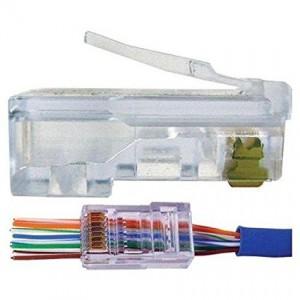 UbiGear Pass Through CAT5e RJ45 Network Cable Modular Plug 8P8C Connector End - 1 Piece