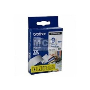 Brother 9MM Blue on White Laminated tape TZ223