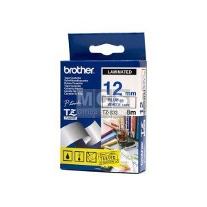 Brother 12MM Blue on White Laminated tape TZ233