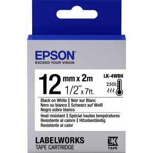 Epson Tape Black/White Heat Resistant 12mm (2m) LW-300/400/600/700/900/1000P