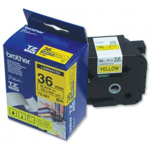 Brother 36MM Black on Yellow Laminated tape TZ661