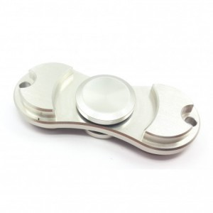 Aluminum Fidget Hand Spinner Torqbar Style EDC Finger Tip Rotation Anxiety Toy - Silver