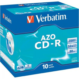 Verbatim - 700MB - CR-R (52X) - CRYSTAL JEWEL CASE - (BOX OF 10)