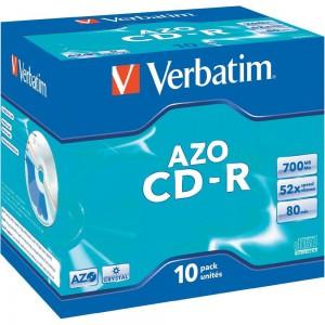 Verbatim - 700MB - CR-R (52X) - CRYSTAL JEWEL CASE - (BOX OF 10)