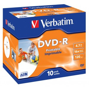 Verbatim - 4.7GB DVD-R (16X) - PRINTABLE JEWEL CASE (BOX OF 10)