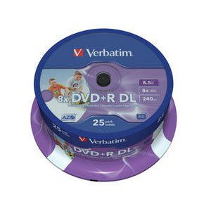 Verbatim - 8.5GB DVD+R (8X) - DOUBLE LAYER PRINTABLE SPINDLE (PACK OF 25)