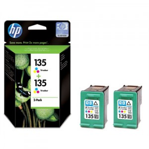 HP # 135 TRI-COLOUR INKJET PRINT CARTRIDGE WITH VIVERA INK - TWIN PACK