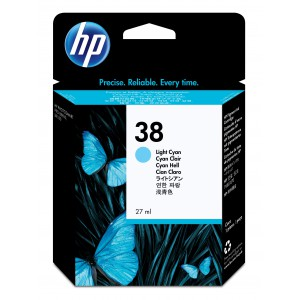 HP # 38 LIGHT CYAN PIGMENT INK CARTRIDGE WITH VIVERA INK