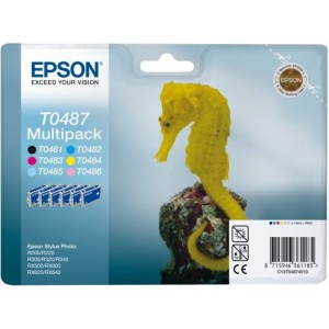EPSON - INK - T0487 - MULTIPACK (BCMYLCLM) - SEAHORSE - STYLUS PHOTO R200 / R220 / R300 / R320 / R340 / RX500 / RX600 / RX620 / RX640