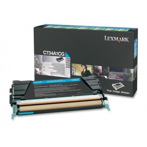 LEXMARK C734 / C736 / X734 / X736 / X738 Cyan Return Programme Toner Cartridge - 6 000 pgs