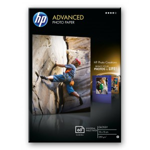 HP ADVANCED GLOSSY PHOTO PAPER 250 G/M -60 SHT/10 X 15 CM BORDERLESS