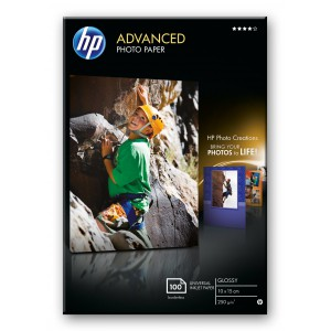 HP ADVANCED GLOSSY PHOTO PAPER 250 G/M-10 X 15 CM BORDERLESS/100 SHT