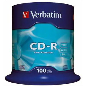 Verbatim - 700MB - CD-R (52X) - EXTRA PROTECTION NON AZO SPINDLE - (PACK OF 100)