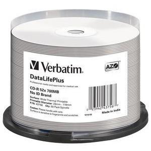 VERBATIM - 700MB - CD-R (52X) - THERMAL PRINTABLE SPINDLE - (PACK OF 50) - EOL