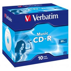 VERBATIM - 80MIN - CD-R (16X) - CRYSTAL COLOURS JEWEL CASE - (BOX OF 10) - WSL