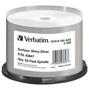 VERBATIM - 4.7GB DVD-R (16X) - SHINY SILVER SPINDLE (BOX OF 50)