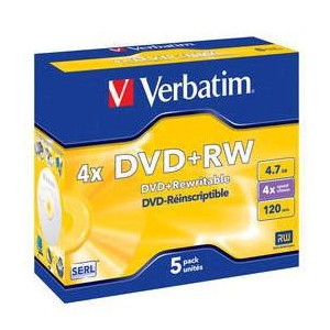 Verbatim - 4.7GB DVD+RW (4X) - (BOX OF 5)