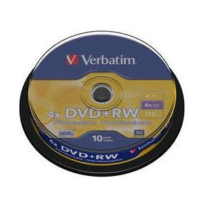 VERBATIM - 4.7GB DVD+RW (4X) - MATT SILVER SPINDLE (PACK OF 10) - WSL