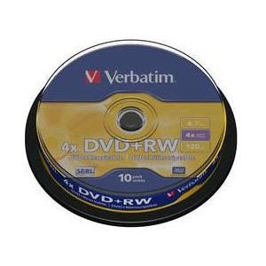 VERBATIM - 4.7GB DVD+RW (4X) - MATT SILVER SPINDLE (PACK OF 10) - WSL
