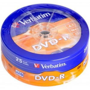 Verbatim - DVD-R 4.7GB (16X) MATT SILVER WAGON WHEEL (25 PACK)