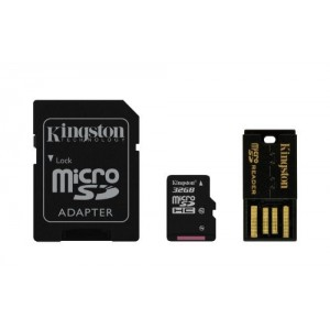 32GB Multi Kit (Class 10 microSD + SD adapter + USB reader) Android