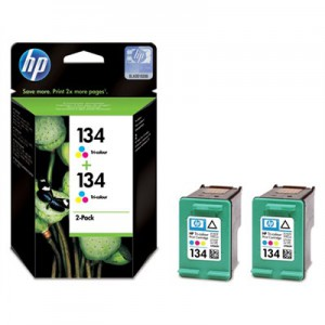 HP # 134 TRI-COLOUR INKJET PRINT CARTRIDGE WITH VIVERA INK - TWIN PACK