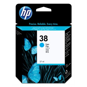 HP # 38 CYAN PIGMENT INK CARTRIDGE WITH VIVERA INK