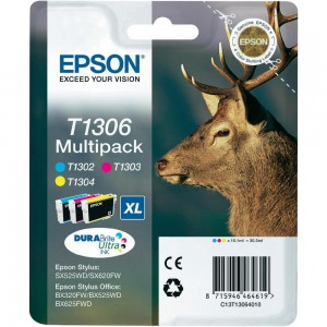 EPSON - INK - T1306 - MULTI-PACK (C/M/Y) - STAG - STYLUS SX525WD / BX305F / BX320FW / BX625FWD