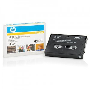 HP DDS-4 40GB 150m Data Cartridge HP DDS-4 data cartridge with 40GB capacity at 2:1 compression. For use with HP SureStore DAT40 and all other DDS-4 drives. Boxed in multiples of 10
