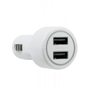 TARGUS - DUAL USB CAR CHARGER FOR MEDIA TABLETS & MOBILE PHONES WHITE